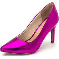 Scarpin Salto Fino Flor Da Pele Metalizado Holográfico Pink