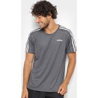 Camiseta Adidas D2M 3Stripes Mc Masculina - Masculino-Cinza