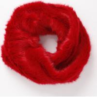 Echarpe Em Pelúcia Com Torção- Vermelha- 102X21Cm