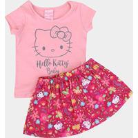 Conjunto Infantil Hello Kitty Cotton Strass Floral Feminino - Feminino-Rosa