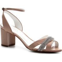 Sandália Couro Shoestock Noiva Strass Feminina - Feminino-Nude