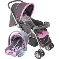 Carrinho De Bebê Com Bebê Conforto Cosco - 0 A 15Kg - Unissex-Rosa+Preto