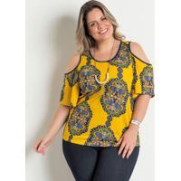Blusa Ombros Vazados Amarela Estampa Marguerite