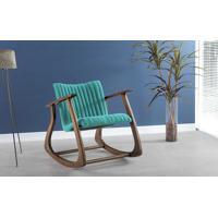 Cadeira De Balanço Smith Matelassê 65X83X72Cm - Verniz Capuccino \ Tec.950 - Turquesa