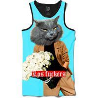 Camiseta Regata Lf Humanos Surreais Cabeça De Gato Segurando Buquê Sublimada Azul