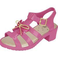 Sandália Flib Infantil Aranha Salto Plástico Com Laço Pink