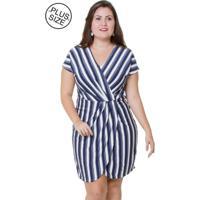 Vestido Estilo Fino Moda Plus Size Listrado Azul