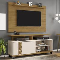 Rack Com Painel Para Tv Até 50 Polegadas Topázio Cinamomo/Off-White - Móveis Bechara