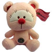 Pelúcia 22 Cm - Ursinho Com Botão - Rosa - Love
