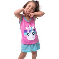 Pijama Baby Doll Bravaa Modas Infantil Unicórnio 016 Rosa