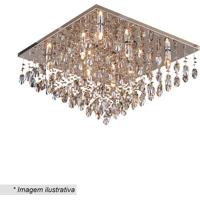 Plafon Quadrado Com Pingentes- Cristal & Inox- 37X60Hevvy