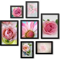 Kit 7 Quadros Grande Los Quadros Flores Rosas Moldura Preta