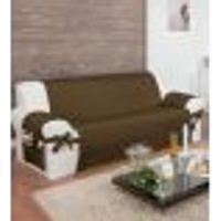 Protetor Para Sofá De 04 Lugares Com Assento De 2,50M Com Laços No Braço E Fitas No Encosto Tabaco