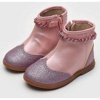 Bota Molekinha Infantil Glitter Rosa