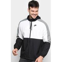Jaqueta Corta Vento Nike Sportwear Color Block Masculina - Masculino-Preto+Branco