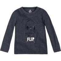 """Camiseta """"Skate""""- Azul Marinho & Branca- Primeiros Phering"""