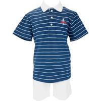 Conjunto Infantil Club Z Camisa Polo E Bermuda Hawaii Azul