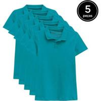 Kit 5 Camisas Polo Basicamente Feminino - Feminino-Verde
