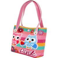 Bolsa Infantil Princesa Pink Estampa Corujinhas Com Flores Multicolorido