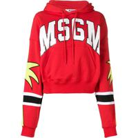 Msgm Blusa De Moletom Com Logo E Capuz - Vermelho