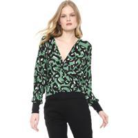 Blusa Maria Filó Jaguar Verde/Preta