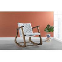 Cadeira De Balanço Estofada Smith 65X83X72Cm - Verniz Capuccino \ Tec.915 - Cinza Claro