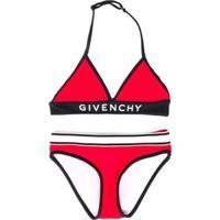 Givenchy Kids Biquíni 2 Peças Com Logo - Vermelho