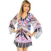 Vestido Saída 101 Resort Wear Estampado Geométrico