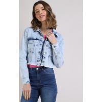 Jaqueta Jeans Feminina Cropped Com Bolsos E Barra Desfiada Azul Claro