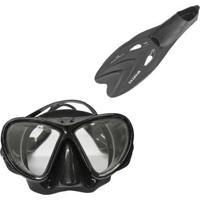 Máscara De Mergulho Black Nautika + Par De Nadadeiras Spartan - Unissex