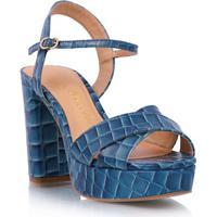 Sandália Midi Em Couro Croco Azul