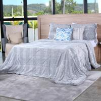 Cobertor Slim Peles Casal Com Porta Travesseiro Grigio - Tessi
