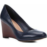 0342893eb2 ... Scarpin Couro Shoestock Salto Médio Anabela - Feminino-Marinho