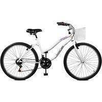 Bicicleta Master Bike Aro 26 Feminina Ipanema Plus 21 Marchas Com Cesta Branco