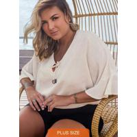 Blusa Plus Size Viscolinho Secret Glam Bege