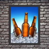 Quadro Decorativo Garagem Cervejas Litrão Geladas No Gelo Preto - Médio