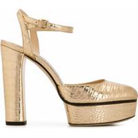 Jimmy Choo Sapato Maple Com Salto 125Mm E Efeito Pele De Crocodilo - Dourado