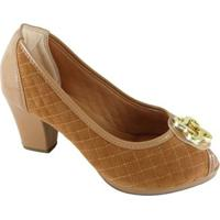 Peep Toe Sapato Web Confort Matelassê Feminino - Feminino-Caramelo