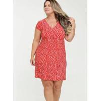 Vestido Estampa Bolinhas Plus Size Feminino - Feminino-Vermelho