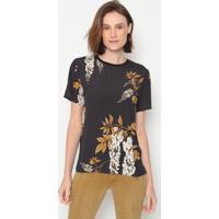 Camiseta Texturizada - Preta & Amarelo Escuro - Foruforum
