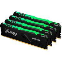 Memória Kingston Fury Beast, Rgb, 128Gb (4X32Gb), 2666Mhz, Ddr4, Cl16, Preto - Kf426C16Bbak4/128