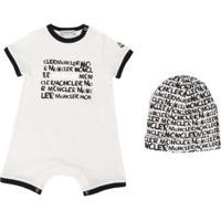 Moncler Kids Conjunto De Bebê Com Macacão E Gorro Com Logo - Branco