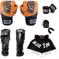 Kit Boxe Muay Thai Top - Luva Bandagem Bucal Caneleira Shorts - Unissex
