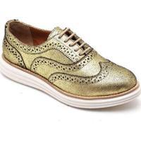Sapato Oxford Q&A Feminino - Feminino-Ouro