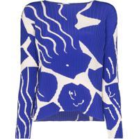 Issey Miyake Blusa Com Estampa Gráfica - Azul