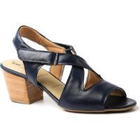 Sandália Couro 284 Doctor Shoes Salto Grosso Feminina - Feminino-Marinho
