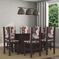 Conjunto De Mesa E Cadeira De Jantar Vidro 160X80 Cm Tabaco Floral