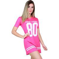 Vestido Camisão Bravaa Modas Longline 099 Rosa