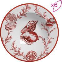 Conjunto De Pratos Fundos Flat Conchas- Branco & Vermelhscalla Cerâmica