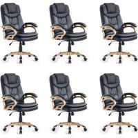 Conjunto Com 6 Cadeiras De Escritório Giratórias Clark Preto